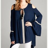 NWOT Festival Boho Cold Shoulder Bell Sleeve Tunic Top Blue Womens Size Medium