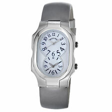 Philip Stein Women's Signature Platinum Silk Strap Dual Time Watch 2NFMOPIPL