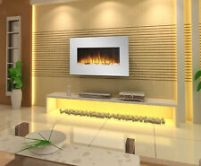 """1500W 36"""" 90CM WHITE WALL MOUNTED ELECTRIC FIREPLACE, HEATER, FIRE, FLAME"""