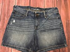 Old Navy Dark Wash Ultra Blue Jean Shorts Factory Distressed Size 10