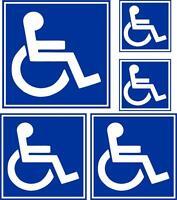 Set 5x Autocollant sticker voiture porte handicap parking toilette wc panneau