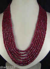 """AAA 2x4mm NATURAL RUBY FACETED BEADS NECKLACE 7 STRAND 17-23"""""""