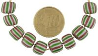 Old African trade beads 4 layers chevron Venetian drawn glass beads round large
