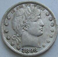 1898 Barber Quarter in a SAFLIP® - AU- (XF+) Details