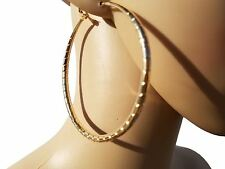 Gold Alloy Textured Round Hoop Earrings NEW
