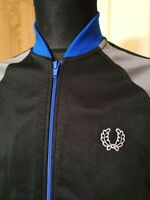 FRED PERRY Track Taped Top Jacket Sportswear Size Small Blue Grey Black
