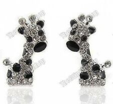 CLIP ON rhinestone CRYSTAL cute BABY GIRAFFE stud EARRINGS black&silver DIAMANTE