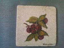 """Cherries"" hand painted marble tile"