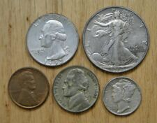1942 YEAR SET ~ FIVE NICER CIRCULATED VINTAGE CLASSIC COINS