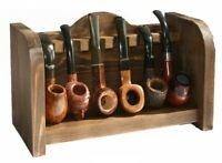Portapipe in legno da tavolo 6 posti forma divano colore noce scuro poggia pipa