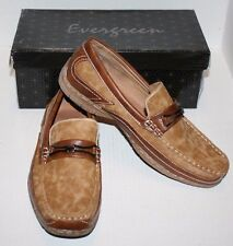 EVERGREEN Men Brown Slip On Loafers w/Silver Buckle Slip Resistant 8631 Size 7 B