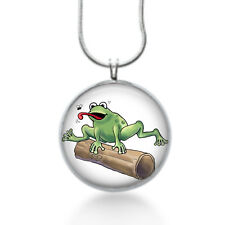 Frog jumping a log Necklace - Animal Jewelry - Handmade - Art Pendant - green