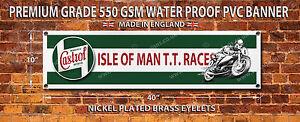 CASTROL TT RACES WATERPROOF 550GSM GRADE PVC BANNER.GARAGE,WORKSHOP