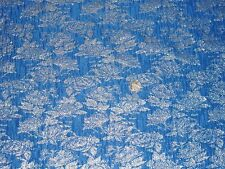 Italiano arrugada Lurex Brocade-Azul/Plata-Vestido/Tela Nupcial-Libre P&P