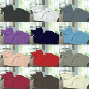 Plain Dyed Complete Bedding Set Duvet Cover+Fitted Bed Sheet Single Double King