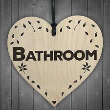Bathroom Wooden Hanging Heart Plaque Toilet Shabby Chic Home Decor Door Sign