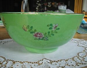 "Vintage Japanese Porcelain Ware GREEN Flowers 10 1/8"" Bowl ~"