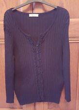 Debenhams Precis Quality Ladies Black Ruffle Front  Cardigan Medium