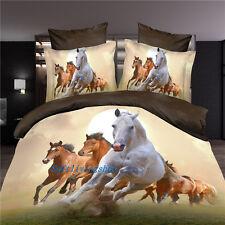 Queen Size Bed Quilt/Doona/Duvet Cover Set Pillow Cases Brown Horse Linen