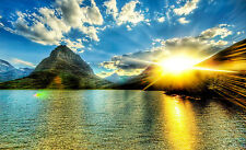 Framed Print - Wicked Bright Sun Rising over the Mountains (Picture Poster Art)