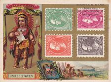 [TC] Indian Boy & US Stamps , Thomas Hand , Philadelphia, Pennsylvania Trade car