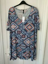 Evans Multi Coloured Short Sleeved Tunic Top Size 30 - 32 (BNWT) Brand NEW
