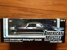 ERTL 1/18 AMERICAN MUSCLE ELITE 1966 BLUE CHEVROLET BISCAYNE COUPE # 923 F/S
