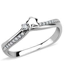 Ladies cz ring solitaire star stainless steel silver pretty elegant new 236