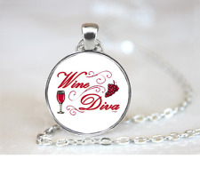 Wine Diva PENDANT NECKLACE Chain Glass Tibet Silver Jewellery