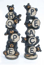 """Whimsical """"Hope"""" or """"Peace"""" Black Stacked Bears Figurine Indoor Home Decor"""