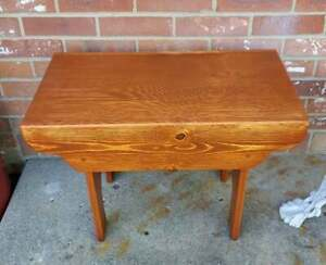 Vintage Pine Bench Sturdy Solid Hand Made 24x16.5x12.5
