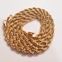 Italian made 3mm 24inch 14k Gold plated rope chain necklace with gift box New