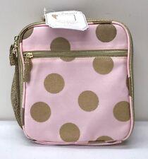 NEW Pottery Barn KIDS Emily & Meritt Gold Dots Lunch Bag~Pink ~ NO MONO