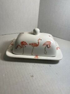 White Stoneware Famingo Butter Dish Tropical Fun