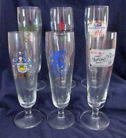 Pilsner Glasses, Set of 6 Assorted Brands - Tuborg, Urquell, B&E, & More, 8 oz