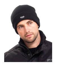 Mens Black Woolly Warm Knitted Beanie Hat Cap Ski Black Thinsulate Army Military