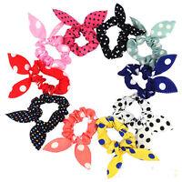 Women Korean Polka Dot Rabbit Ear Bow Hair Tie Band Ponytail Headband 10x New