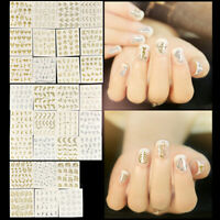 30 Sheets Gold Silver Nail Art Water Transfer Stickers Decals Manicure Stickers