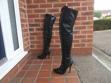 Sexy Black PU Front Lace Thigh High Boots * sz 7 uk * GOTH * DOMINATRIX * FETISH