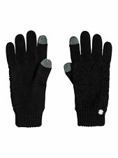 ROXY Womens Touchscreen Gloves.girl Challenge Black Knitted Cable 7w 3086 KVJO