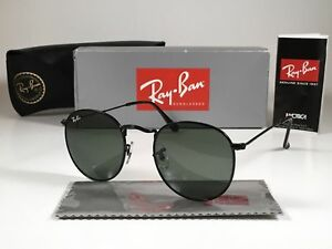 New Ray-Ban RB3447 002 50mm Round Metal Black Frame Green G-15 Lens
