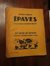 Epaves by Julien Green - Fayard Livre de Demain No 183 series 1938