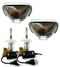 H6054 200mm H6014 Headlights with LED Light Bulbs 6000K HID Xenon Color (Pair)