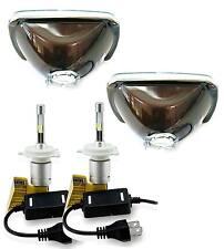 H6054 200mm H6014 Headlights with LED Light Bulbs 6000K HID Xenon Color (Pair)