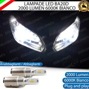 COPPIA LAMPADE LED BA20D 6000K 2000 LM ANABBAGLIANTE ABBAGLIANTE MOTO SCOOTER