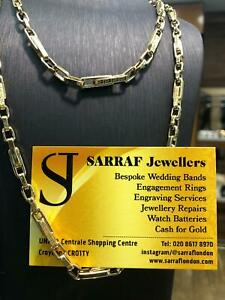 Venezia Griechische Byzantium 585 14ct Gold Herren Damen Muster Halskette 3mm