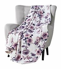 Vcny Decorative Throw Blankets: Soft Plush Lively Rose Floral Accent for Couch