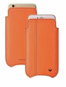 iPhone 8 / 7 case Faux Leather Orange KILLS 99.9% VIRUSES Screen Cleaning Sleeve
