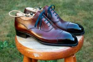 Handmade Men Genuine Burgundy Leather Cap Toe Oxford Lace Up Dress Formal Shoes
