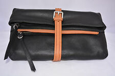 NWT Christopher Kon Corie Black in Leather Clutch #647